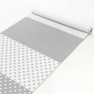 Pellicola adesiva - Grey white stars and dots in 4 variations decorative
