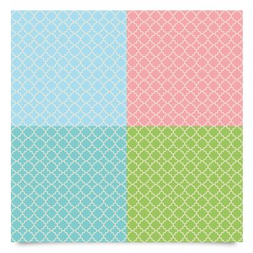 Pellicola adesiva - Moroccan tile mosaic pattern in 4 pastel colours