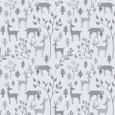 Pellicola adesiva - Sweet deer pattern in different shades of gray