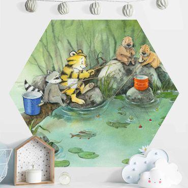 Carta da parati esagonale adesiva con disegni - Il piccolo tigrotto - a pesca