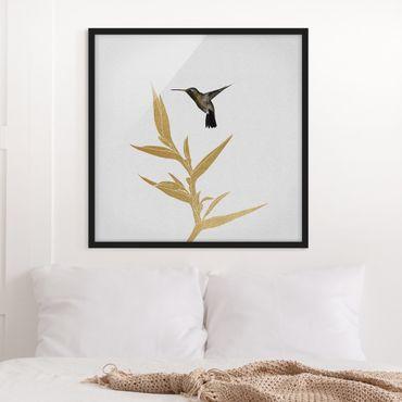 Poster con cornice - Colibrì e fiore tropicale dorato II