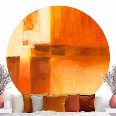 Carta da parati rotonda autoadesiva - Composizione in arancio e marrone 01