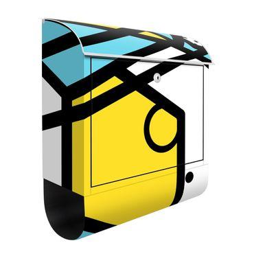 Cassetta postale - Composition Neo Memphis giallo e blu