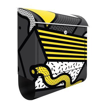 Cassetta postale - Composition Neo Memphis giallo e grigio
