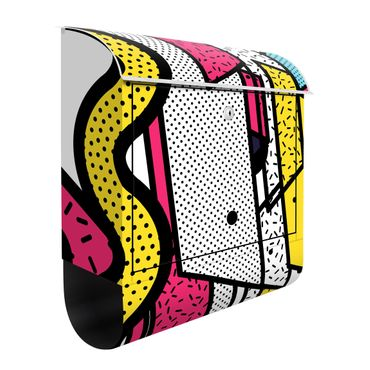 Cassetta postale - Composition Neo Memphis rosa e giallo