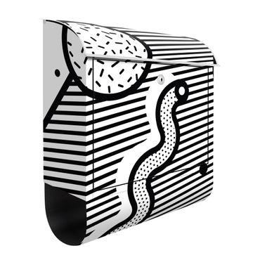 Cassetta postale - Composition Neo Memphis bianco e nero