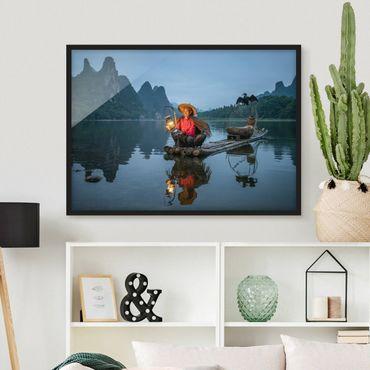 Poster con cornice - Pesce cormorano la sera