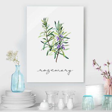 Quadro in vetro - Illustrazione di erbe aromatiche rosmarino