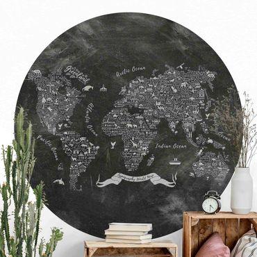 Carta da parati rotonda autoadesiva - Chalk tipografia Mappa del mondo