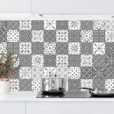 Rivestimento cucina - Motivo piastrelle Mix grigio bianco