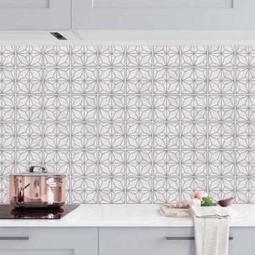 Rivestimento cucina - Motivo piastrelle stelle geometriche grigio blu