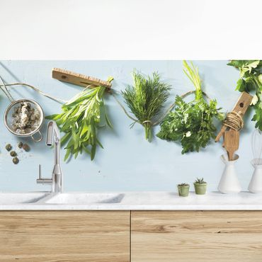 Rivestimento cucina - Erbe impacchettate