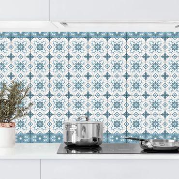 Rivestimento cucina - Piastrelle geometriche mix fiori blu grigio