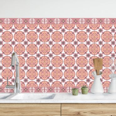 Rivestimento cucina - Piastrelle geometriche mix cerchi arancione