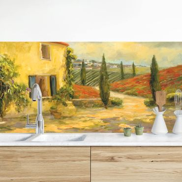 Rivestimento cucina - Paesaggio italiano dipinto V