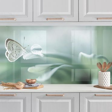 Rivestimento cucina - Farfalla E Gocce di rugiada In Pastel Verde