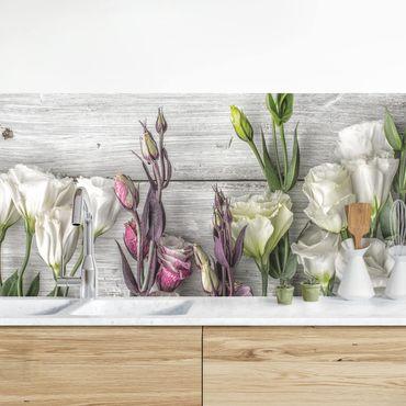 Rivestimento cucina - Tulipani e rose su legno shabby
