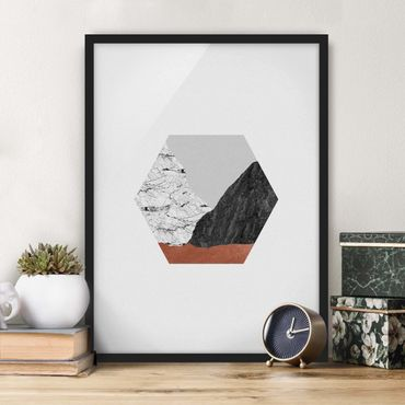 Poster con cornice - Montagne di rame in geometria esagonale
