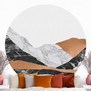 Carta da parati rotonda autoadesiva - Paesaggio in marmo e rame