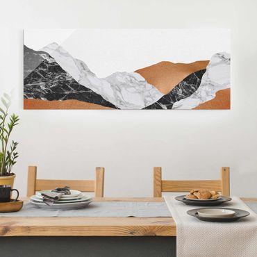 Quadro in vetro - Paesaggio in marmo e rame