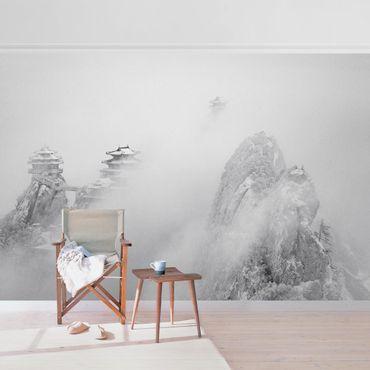 Carta da parati metallizzata - Il monte di Laojun in Cina in bianco e nero