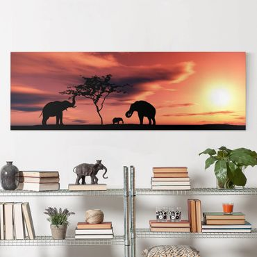 Stampa su tela - African Elephant Family - Panoramico