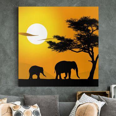 Stampa su tela - African Elefant Walk - Quadrato 1:1