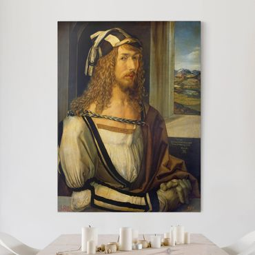 Stampa su tela - Albrecht Dürer - L'Autoritratto con guanti - Verticale 3:4