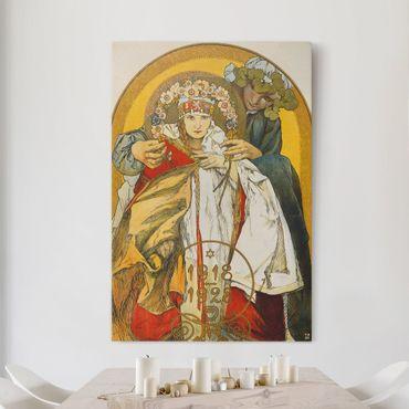 Stampa su tela Alfons Mucha - Poster per il decimo Anniversario dell'Indipendenza della Repubblica Cecoslovacchia - Verticale 2:3