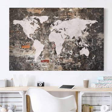 Stampa su tela - Old wall world map - Orizzontale 3:2