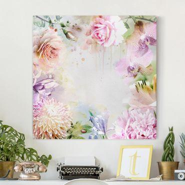 Stampa su tela - Watercolor Blossoms Mix Pastel - Quadrato 1:1