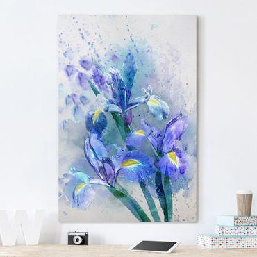 Stampa su tela Watercolour flowers Iris - Verticale 2:3