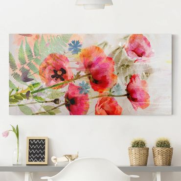 Stampa su tela - Watercolor Poppy Flowers - Orizzontale 2:1
