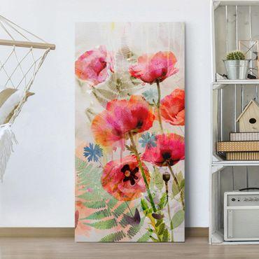 Stampa su tela - Watercolor Poppy Flowers - Verticale 1:2