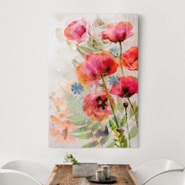 Stampa su tela Watercolour poppy flowers - Verticale 2:3