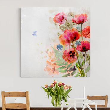 Stampa su tela - Watercolor Poppy Flowers - Quadrato 1:1