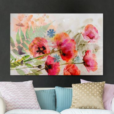 Stampa su tela - Watercolour poppy flowers - Orizzontale 3:2