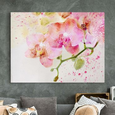 Stampa su tela - Watercolor Flowers Orchids - Orizzontale 4:3