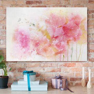 Stampa su tela - Watercolour flowers peonies - Orizzontale 3:2