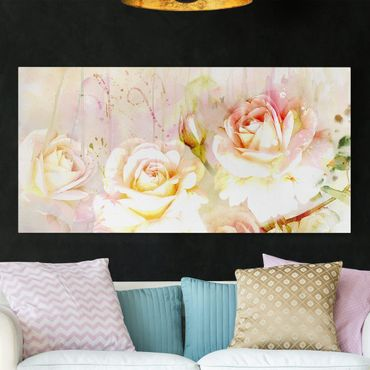 Stampa su tela - Watercolor Flowers Roses - Orizzontale 2:1