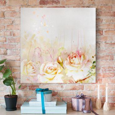Stampa su tela - Watercolor Flowers Roses - Quadrato 1:1