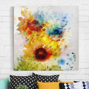 Stampa su tela - Watercolor Sunflowers - Quadrato 1:1