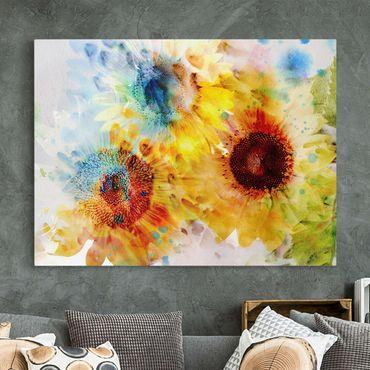 Stampa su tela - Watercolor Sunflowers - Orizzontale 4:3