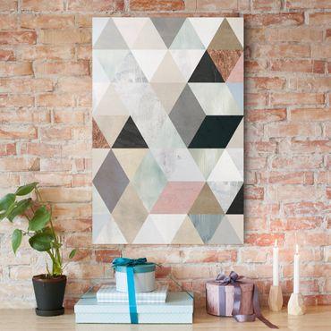 Stampa su tela - Acquerello mosaico triangoli con I - Verticale 2:3