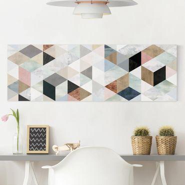 Stampa su tela - Acquerello mosaico triangoli con I - Panoramico
