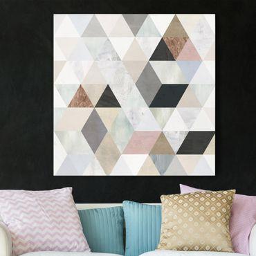 Stampa su tela - Watercolor Mosaic With Triangles I - Quadrato 1:1
