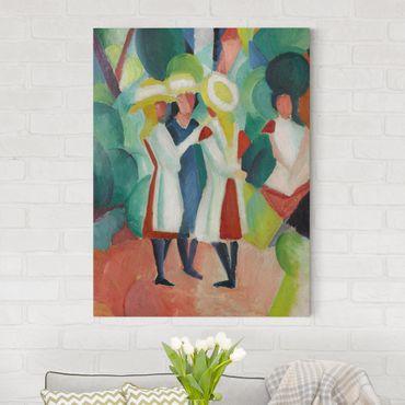 Stampa su tela - August Macke - Tre ragazze con cappelli di paglia gialli - Verticale 3:4