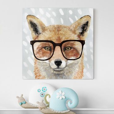 Stampa su tela - Animals With Glasses - Fox - Quadrato 1:1