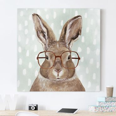 Stampa su tela - Animals With Glasses - Rabbit - Quadrato 1:1