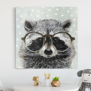 Stampa su tela - Animals With Glasses - Raccoon - Quadrato 1:1